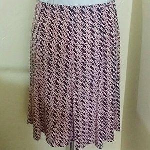 Sag Harbour Pink & Beige Printed Skirt